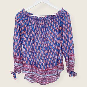Beach Lunch Lounge Off Shoulder Paisley Top